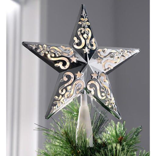 Star Christmas Tree Topper, LED Lights, Plated Silver, 25cm