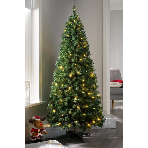 Pre Decorated Highland Flocked Christmas Tree, 100 Warm White LEDs, 6 feet/1.8 m