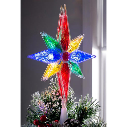 North Star Christmas Tree Topper Multi-Colour LED Lights, 27cm