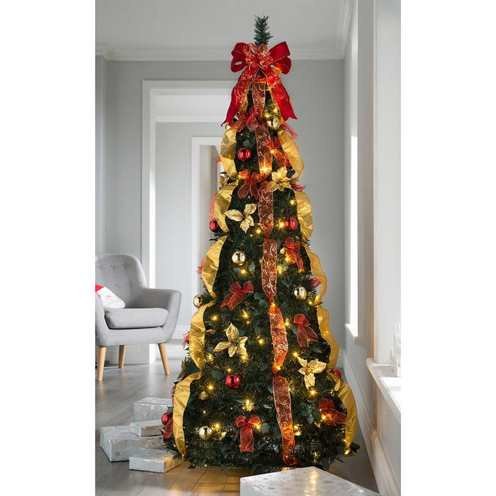 Pre Decorated Holly Popup Christmas Tree 150 Warm White Led Red