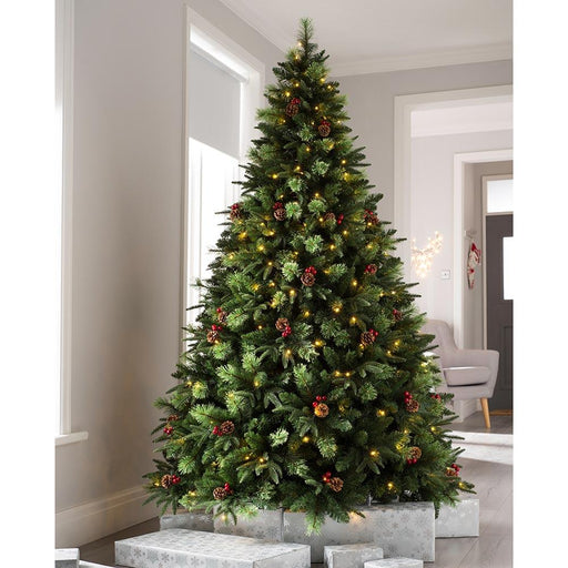 Pre-lit Victorian Mixed Tip Berries & Cones Christmas Tree with 260 LED Lights, 7 feet/2.1 m