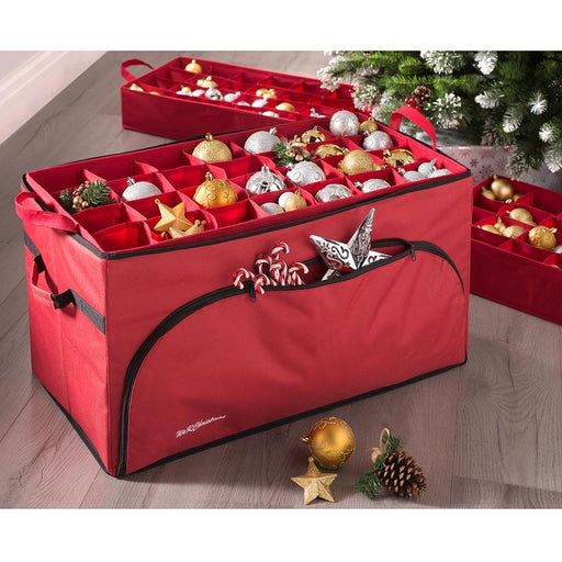 Tiered Bauble Christmas Decoration Storage Bag - 72 Piece, Red, 76 x 38 x 38cm