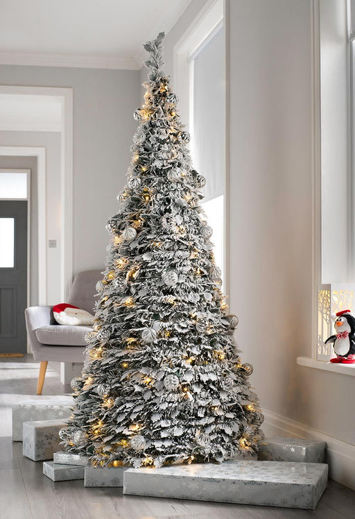 Pre Decorated Popup Snow White Christmas Tree, 150 Warm White LED, 6 feet/ - Pop Up Christmas Trees €� WeRChristmas