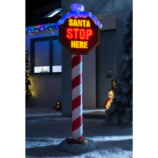 North Pole Santa Stop Here Sign Flashing LED Lights Christmas Decoration, Multi Colour