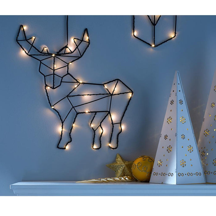 2D Black Wire Reindeer Christmas Decoration LED Light, 30cm