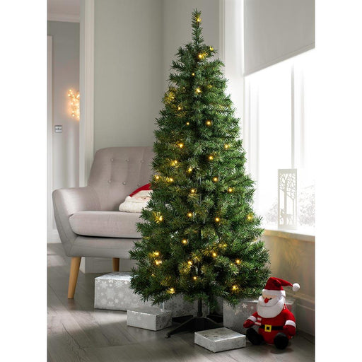 Pre Decorated Highland Flocked Christmas Tree, 50 Warm White LEDs, 5 feet/1.5 m