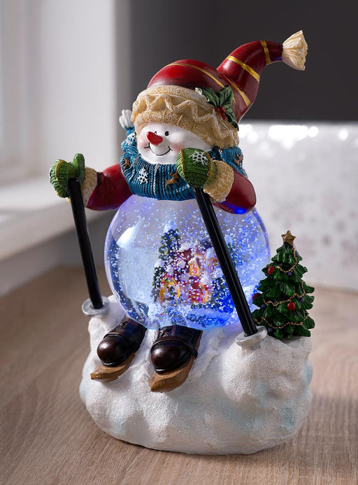 Pre-lit Colour Changing Musical Snowman Snow Globe, 21cm