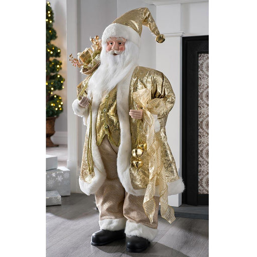 Large Standing Santa Claus, Gold Outfit and Presents, 92cm