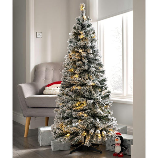 Pre Decorated Flocked Popup Christmas Tree, 50 Warm White LEDs, 5 feet/1.5 m