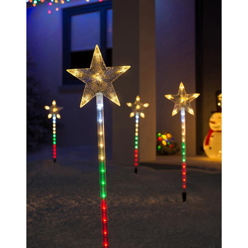 Flashing Star Garden Pathway Christmas Lights 72 LED, Set of 4, Multi Colour