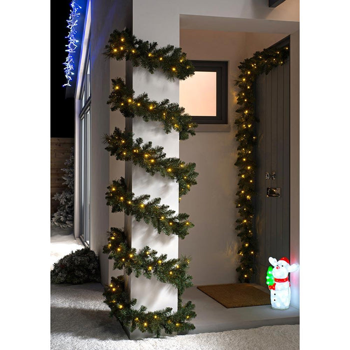 54ft Pre-lit Connectable Garland, Multi-Function LED Lights, 54 feet/ 16.2m
