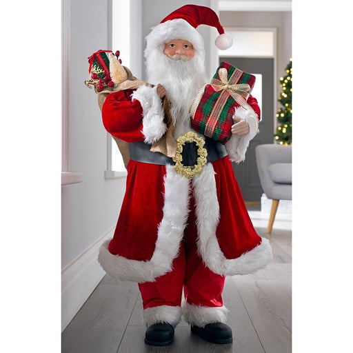 Large Standing Santa Claus Christmas Decoration, Red Outfit and Presents, 92cm