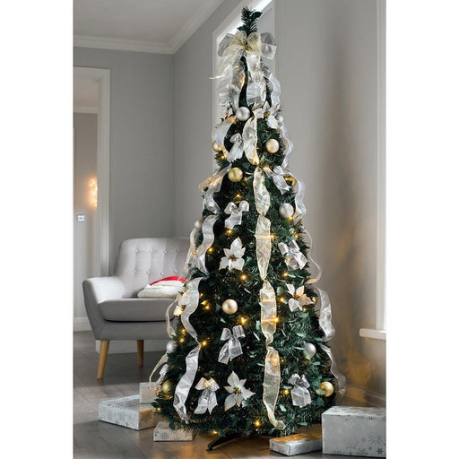 Pre Decorated Holly Popup Christmas Tree, 150 Warm White LED, Champagne & Silver, 6 feet/1.8 m