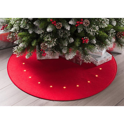Pre-lit Felt Christmas Tree Skirt 20 LED Star Lights, Red, 90cm