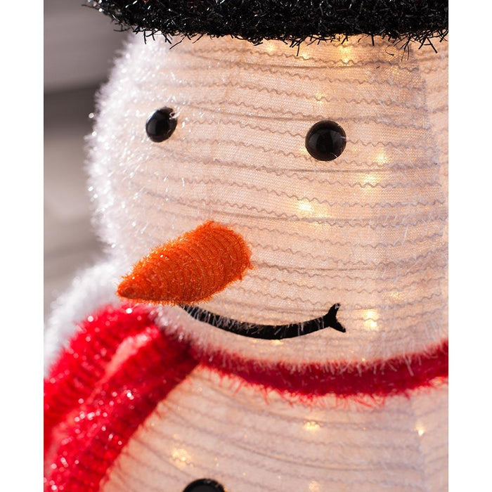3D Snowman with Red Scarf and Black Hat 60 LED Lights, Multi-Colour, 78cm