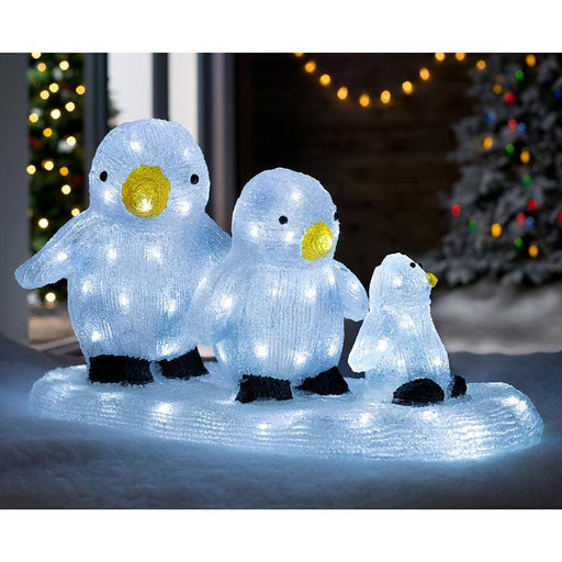 Penguin Family Set Christmas Decoration, LED Lights, Multi-Colour, 50cm