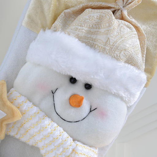 Snowman Santa Stocking, Cream and Gold, 49cm