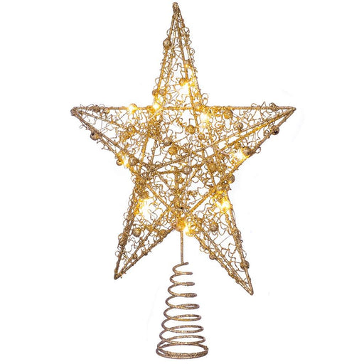 Pre-lit Sprinky Christmas Tree Top Star LED Lights, Gold, 31cm