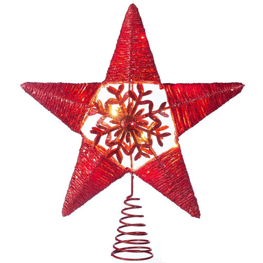 Pre-lit Snowflake Sprinky Christmas Tree Top Star LED Lights, Red, 31cm