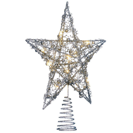 Pre-lit Sprinky Christmas Tree Top Star LED Lights, Silver, 31cm