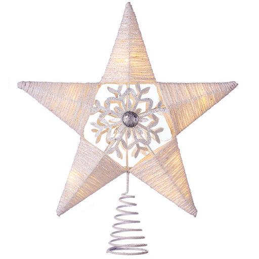 Pre-lit Snowflake Sprinky Christmas Tree Top Star LED Lights, White, 31cm