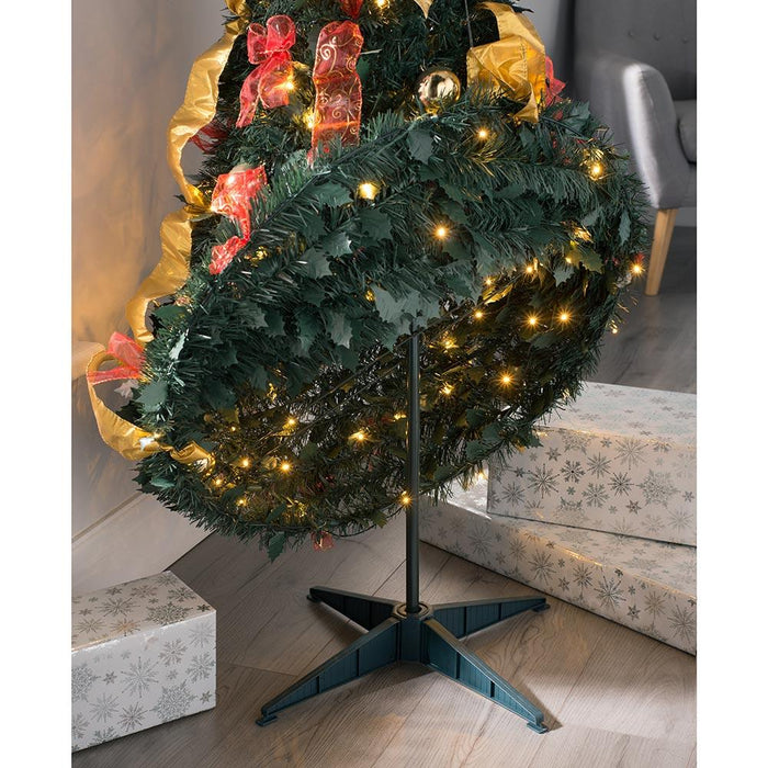 Pre Decorated Holly Popup Christmas Tree, 150 Warm White LED, Red & Gold, 6 feet/1.8 m