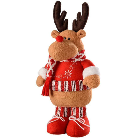 Free Standing Christmas Reindeer Decoration, 43 cm - Multi-Colour