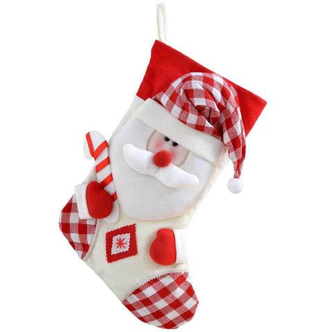 48 cm Christmas Stocking with 3D Santa Claus Head in Tartan Finish, Red/White