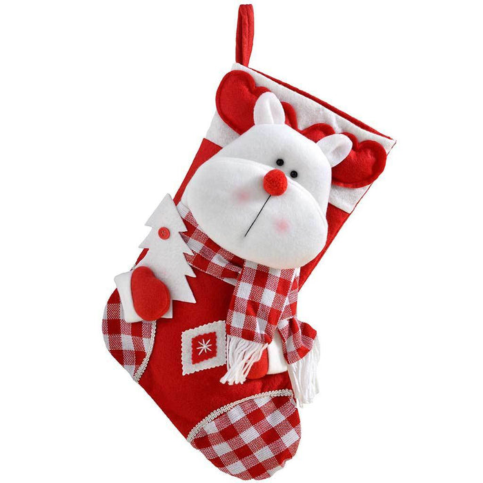 48 cm Christmas Stocking with 3D Reindeer Head Decoration in Tartan Finish, Red/ White