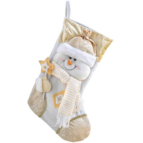 48 cm Christmas Stocking with 3D Snowman Head Decoration, Cream/ Gold