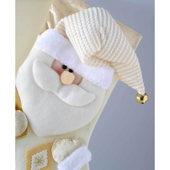 48 cm Christmas Stocking with 3D Santa Claus Head, Cream/Gold