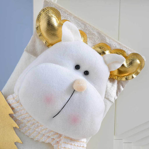 48 cm Christmas Stocking with 3D Reindeer Head Decoration, Cream/ Gold