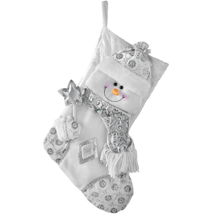 48 cm Christmas Stocking with 3D Snowman Head Decoration, Silver/ White
