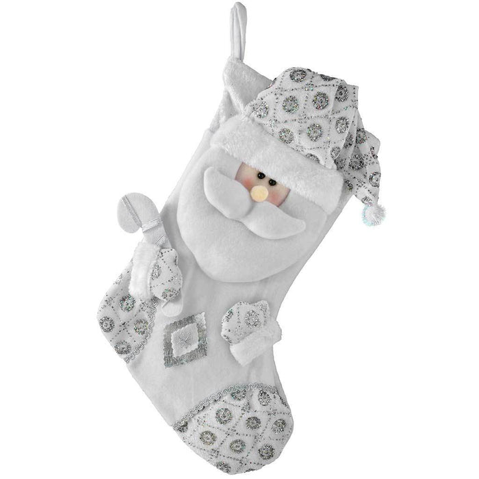 48 cm Christmas Stocking with 3D Santa Claus Head Decoration, Silver/ White