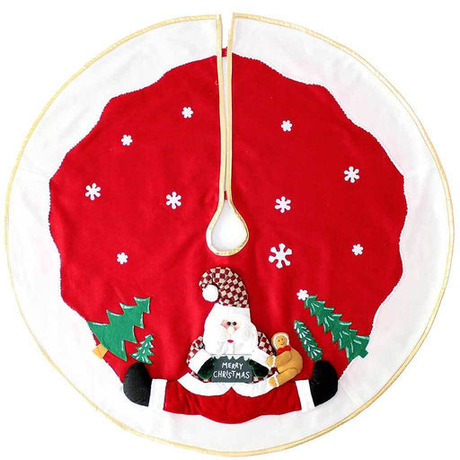 100 cm Large Christmas Tree Skirt Decoration with 3D Father Christmas and Snow Design, Red