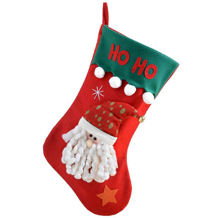 52 cm Christmas Stocking with 3D HO HO HO Father Christmas Head, Red/ Green