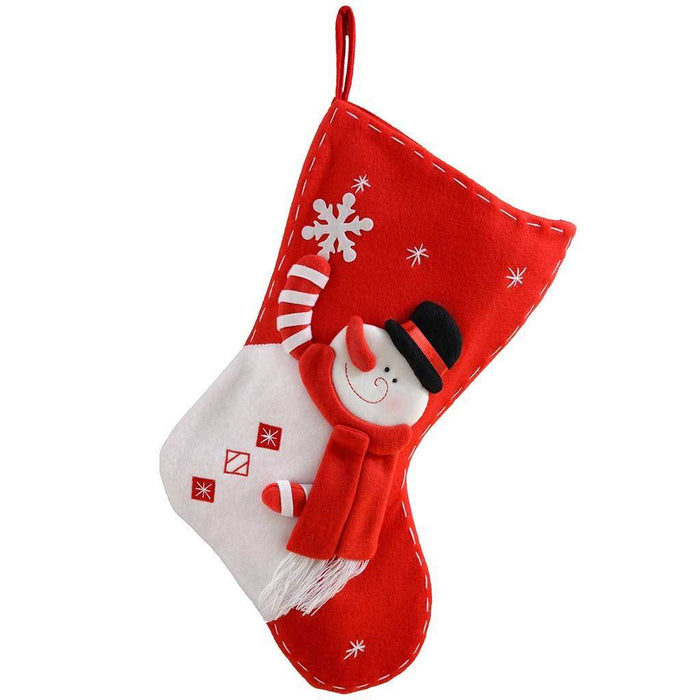 45 cm Christmas Stocking Decoration with 3D Snowman, Red/ White