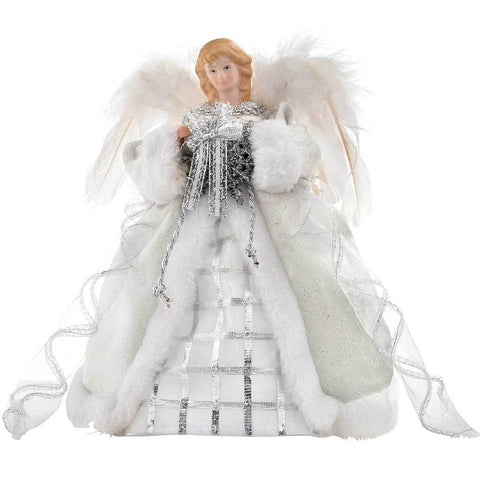 25 cm Angel Decoration Christmas Tree Top Topper with Feather Wings, Silver/ White