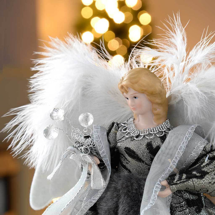 25 cm Angel Decoration Christmas Tree Top Topper with Feather Wings, Black/Silver