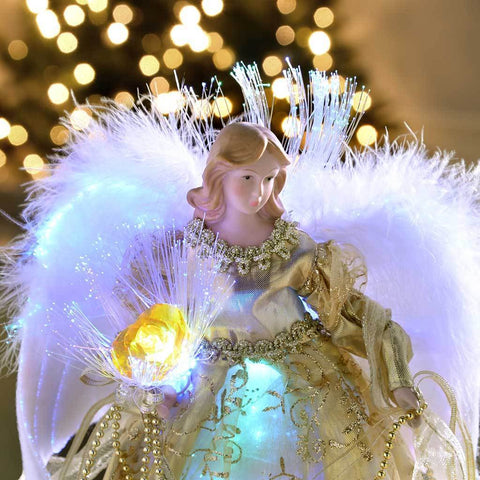 Fibre Optic Angel Decoration Christmas Tree Top Topper with Feather Wings, 25 cm - Gold