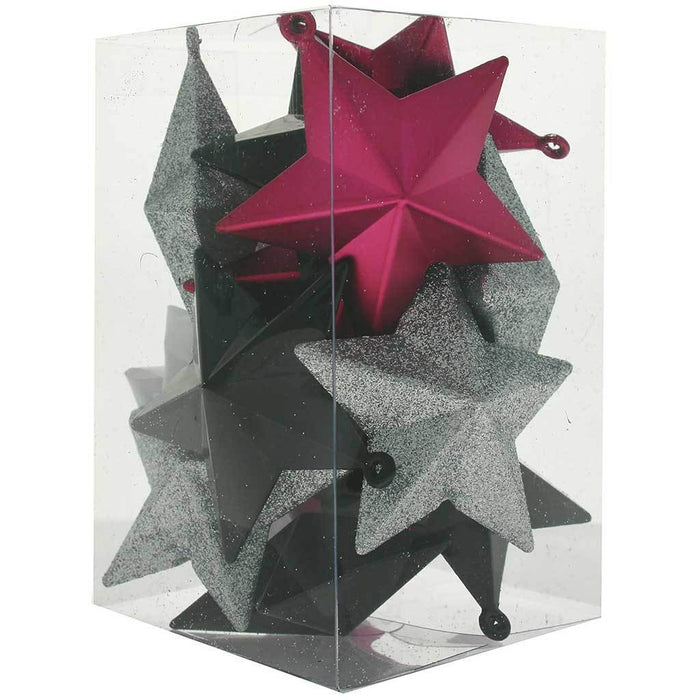 42-Piece Shatterproof Baubles Christmas Tree Decoration Pack with Star Topper and Tinsel Garland, Hot Pink/ Silver/ Black