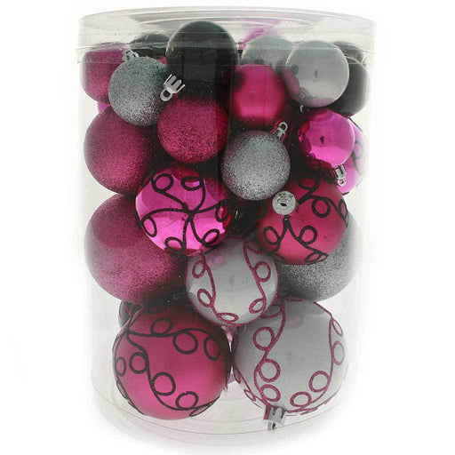 Shatterproof Deluxe Christmas Tree Baubles, 50-Piece - Hot Pink/Silver/Black