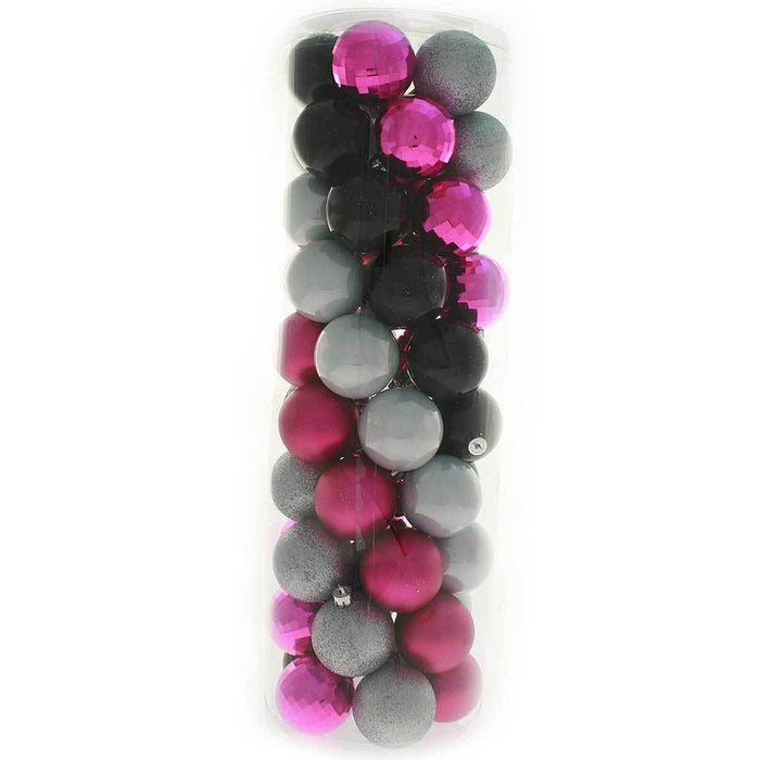 Shatterproof Baubles Christmas Tree Decoration Pack, 50-Piece - Hot Pink/Silver/Black