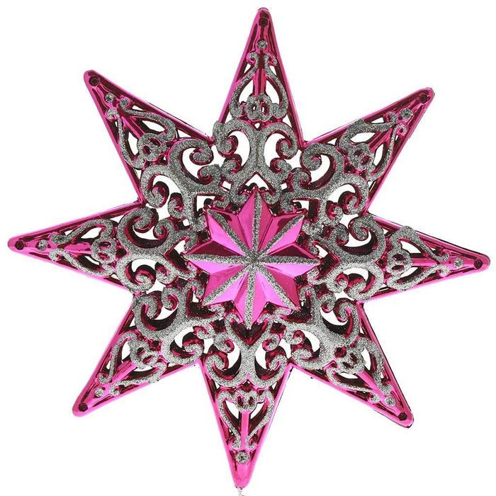 Shatterproof Plastic Christmas Tree Topper Star With Glitter, 21 cm - Hot Pink