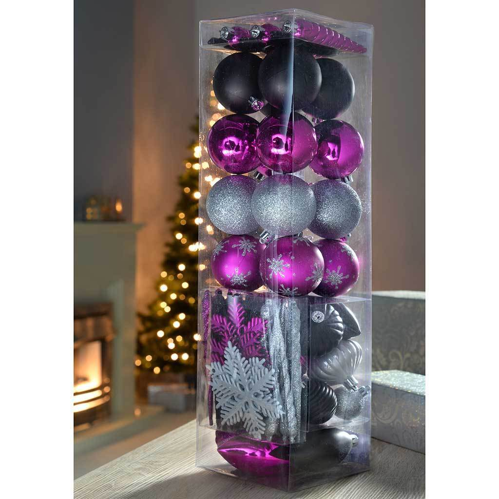 72-Piece Shatterproof Deluxe Christmas Tree Baubles, Hot Pink/ Silver/ Black
