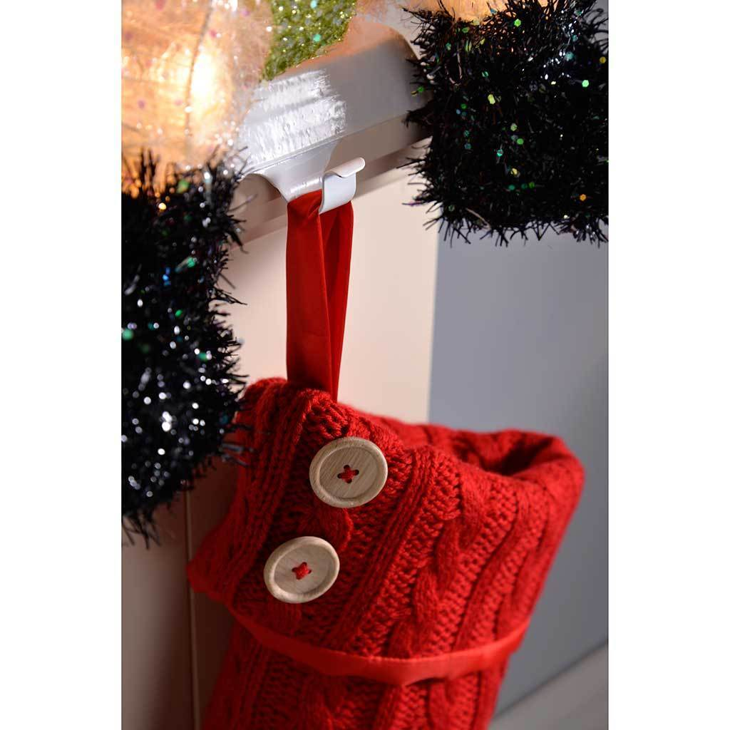 Indoor Snowman Stocking Holder with 20-LED Lights, Tinsel and Glitter Coating, 48 cm