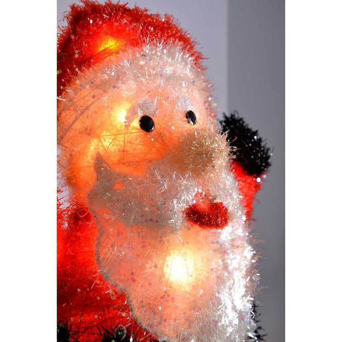 Indoor Father Christmas Stocking Holder with Tinsel and Glitter Coating, 46 cm | WeRChristmas