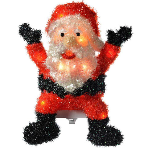 Indoor Father Christmas Stocking Holder with Tinsel and Glitter Coating, 46 cm