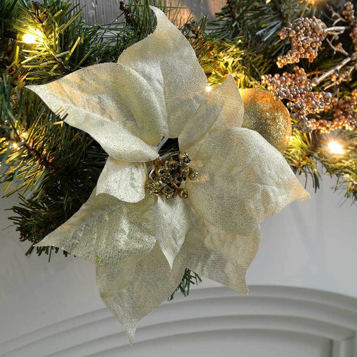 9 ft Decorated Pre-Lit Garland Christmas Decoration Illuminated with 40 Warm White LED Lights, Cream/ Gold