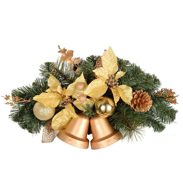 30 cm Decorated Twin Bell Wall Christmas Decoration, Cream and Gold